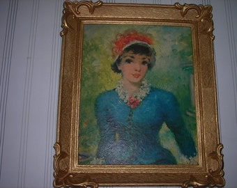 vintage art picture and plastic frame french lady blue dress ornate frame painting