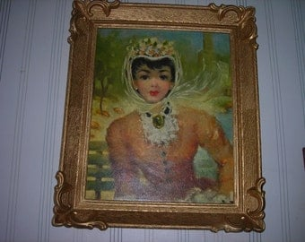 vintage art painting picture and plastic frame french lady brown dress ornate frame painting