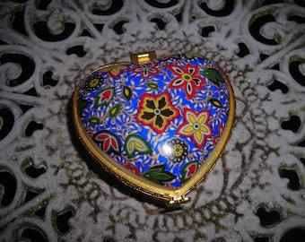 vintage trinket box puffed heart enamel flower china gold metal