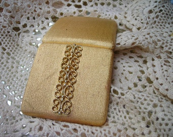 vintage gold tone filigree compact pill box ring box Avon vintage Hollywood
