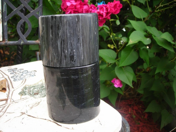vintage trinket box  black marble  vanity covered jewl box keepsake