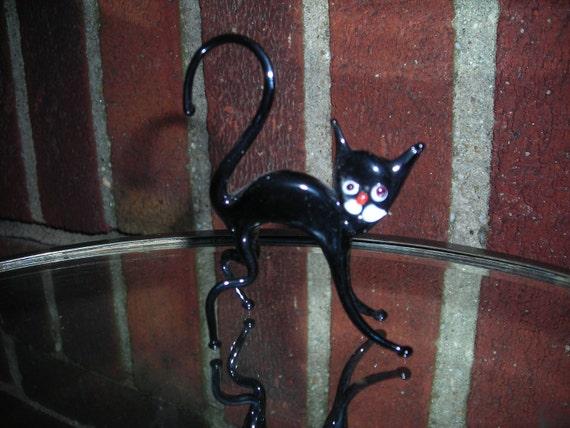 vintage glass blown black cat