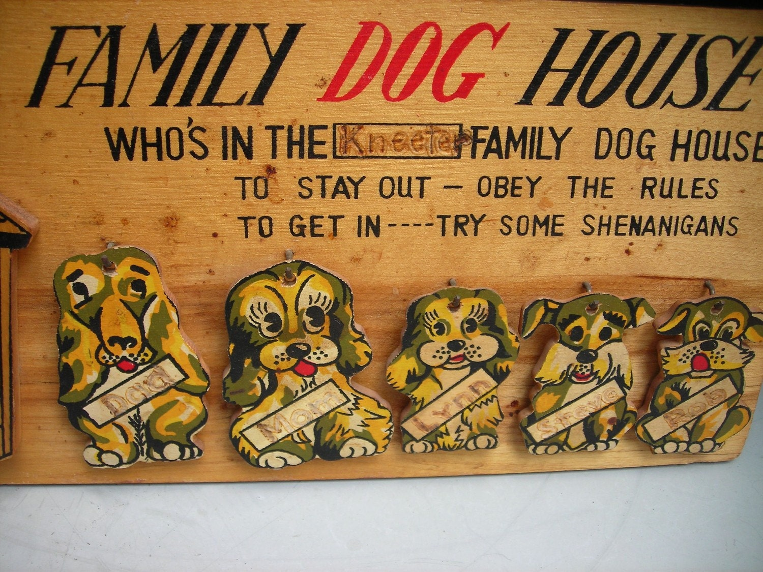 Vintage Wooden Wall Plaque 1950s Family Dog House Wall Art