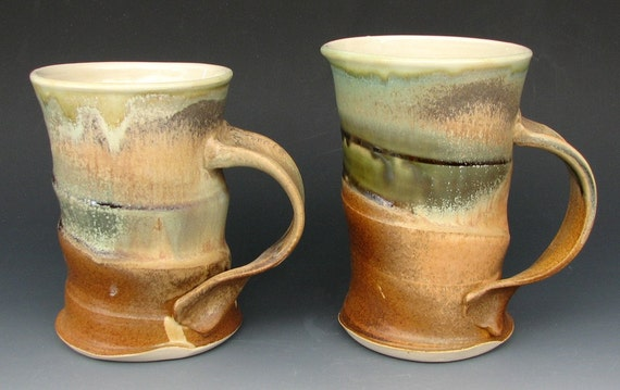 Pair of Mugs (cups, green, gold, set, white stoneware, coffee)