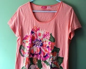 Beautiful Vintage Patchwork Floral Quilted T Shirt M