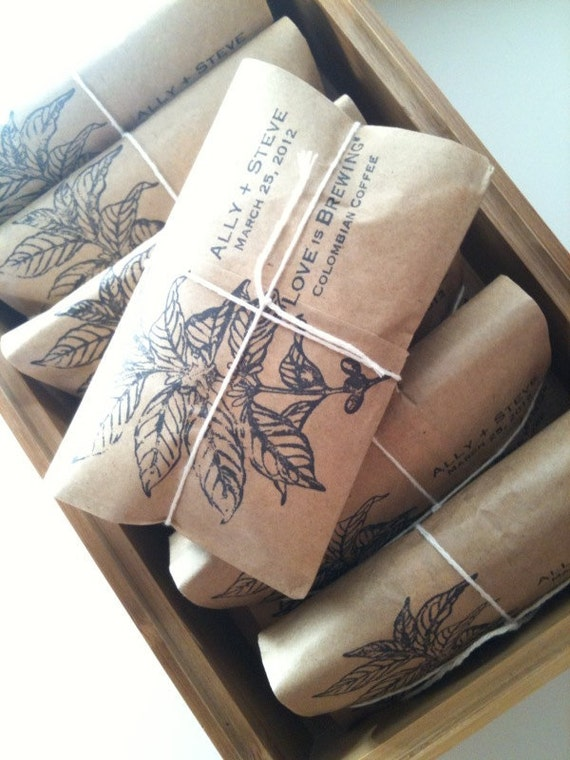 Perfect for a rustic wedding! Our hand-crafted coffee favors are roasted in house