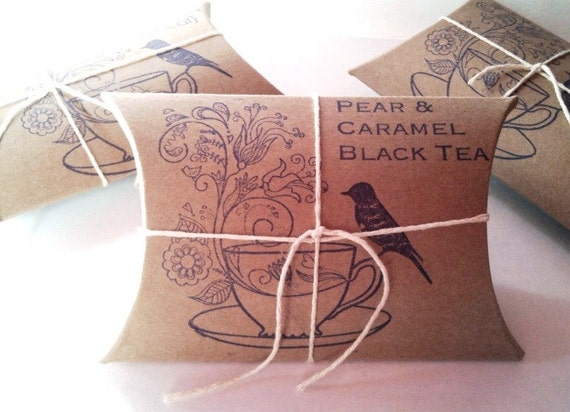 Tea Party Favors. Bridal Shower Favors. Tea Wedding Favors. Bird on Tea Cup Stamp. Loose Tea. Set of 20.