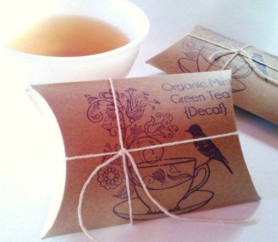 RESERVED. Tea Party Bridal Shower Favors. Bird on Tea Cup. Loose artisan tea in eco-friendly tea bags.