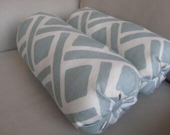 PAIR LINEN bolster pillows cream/blue decorative accent  6x14 6x16 6x18 6x20 6x22