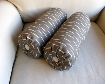 IKAT Graphite and Oatmeal PAIR of Bolsters  6x14/18/20
