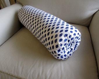 Indigo blue dot on white flax SINGLE bolster pillow 7x22