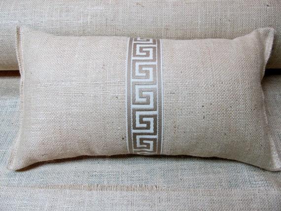 Greek Key 11x20 Burlap Bolster Lumbar Pillow By