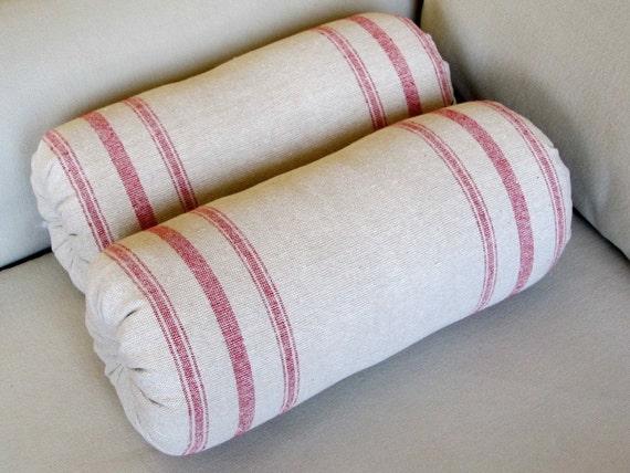 Grain Sack Bolster pillows 6x14 pair