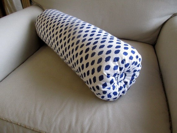 Indigo blue dot on white flax SINGLE bolster pillow 7x22