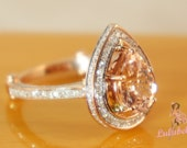 Sale - Ready to ship - The Pear Alencon lace Sparkler - Morganite and diamond 14k rose gold engagement or wedding ring pave and milgrain
