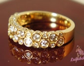 The Bubble Ring - Diamond and 14k yellow gold half eternity wedding or engagement ring