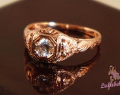The Crescent moon Ring - Art noveau reproduction engagement or wedding ring with Diamond in Rose Gold