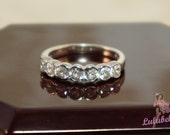 The Anniversary Ring - Seven Diamond and 14k white gold half eternity bezel wedding or engagement ring