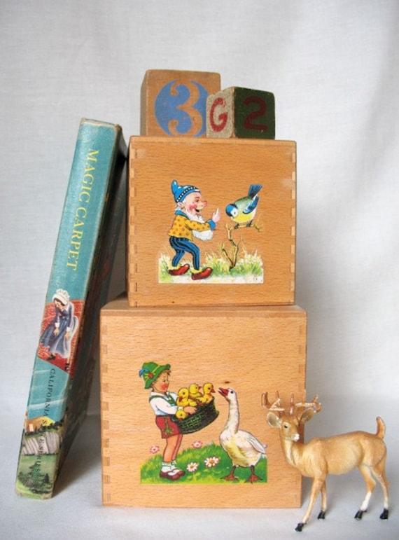 Vintage Pair of Wooden Childrens Stacking Blocks