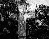 Cemetery Photo - Fine Art Photograph - Double Cross - 11 X 14 Framed Fine Art Film Print
