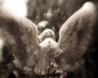 Black and White Photography, Angel Art, Wings, Guardian Angel Statue, Cemetery, Gothic Art, Condolence Gift, 8x12, Religious Photo, Decor