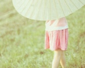 Parasol Girl dreamy ethereal 5x7 photograph, pink and green nature walk print