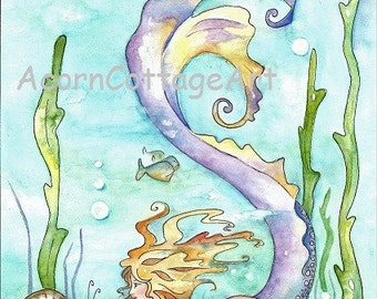 """Mermaid Art..""""ERIS""""... a Mermaid and  and a SnAiL sHare their SeCret Thoughts..8x10 print"""