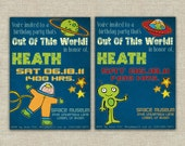 25 space invitations, alien, astronaut, planet, outer space, rocket ship