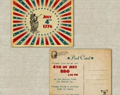 25 invitation post cards, July 4th, fourth of july, celebration, bbq, outdoor, family reunion, vintage, retro, summer