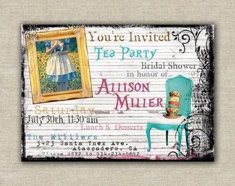 Alice in Wonderland invitations, tea party, bridal, baby shower, birthday, digital file, Printable