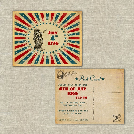Items Similar To 25 Invitation Post Cards, July 4th