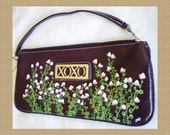 New Hand Painted Dark Purple XOXO Handbag, White Blossoms Amber Elizabeth Original Wearable Art Flowers Plants Purse Clutch Medium Plum OOAK