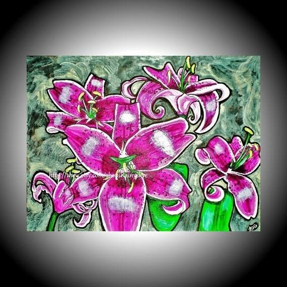 Stargazer Lilies Original Acrylic Painting Amber Elizabeth Lamoreaux Pink Lily Flowers Magenta Berry Star Gazer Contemporary Fine Art Green