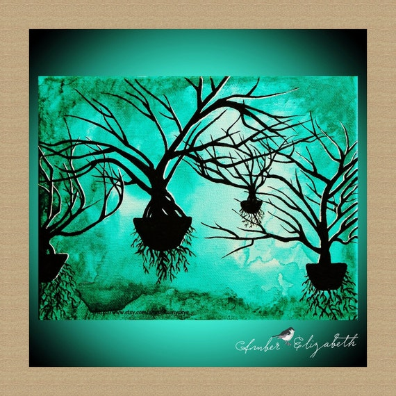 "ORIGINAL Painting Floating Tree World 8"" x 10"" Acrylic on Canvas Amber Elizabeth Graff Tree Green Sky Branches Silhouette Trees Teal Nature"