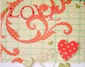 Love Love Love Handmade Greeting Card - FREE SHIPPING