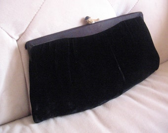 Midnight velvet clutch