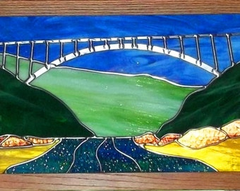 New River Gorge Bridge Stained Glass Panel