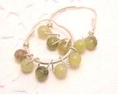Natural Jade Earrings Handwired Sterling Silver Hoops