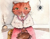Little Miss Muffet - Original Painting - Childrens room decor