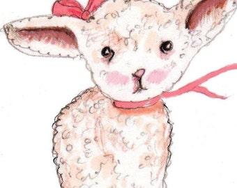 Childrens Wall Art  Print - Nursery Decor Little Miss Lamb Nursery Art Print