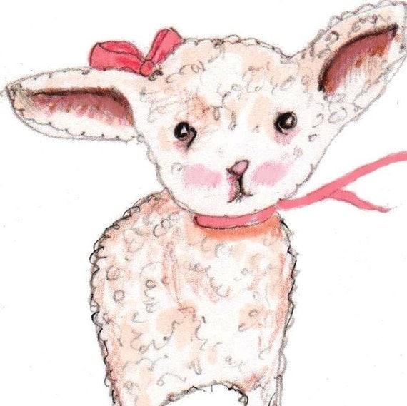 Nursery Decor Little Miss Lamb - Nursery Art Print