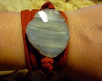Quartz Suede Wrap Bracelet