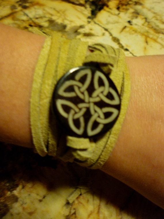 Celtic Knot Suede Wrap Bracelet