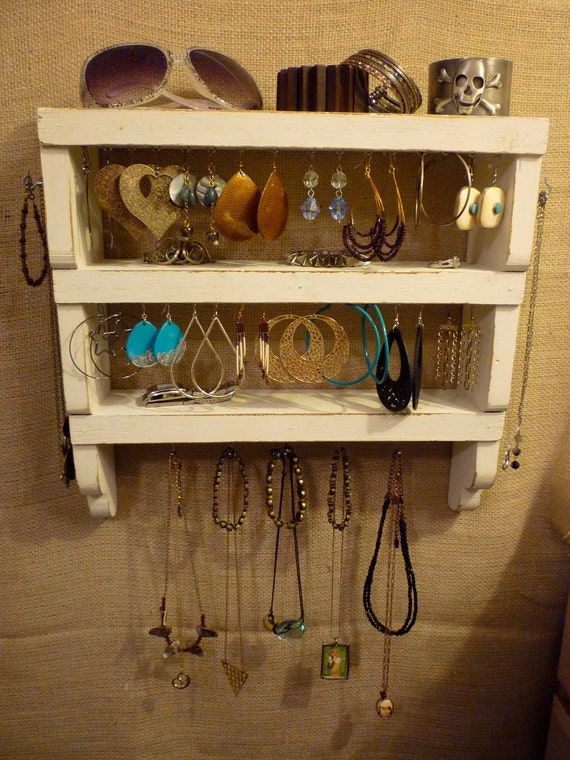 Upcycled Jewelry Organizing Display (White Rack)