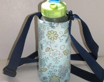 Blue Flowers Water Bottle Holder