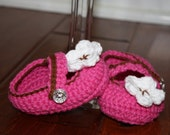 Cute Crochet Baby Booties with Bling and Flower Detail - Newborn to 12 Month You Choose Colors