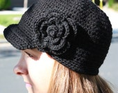 Perfectly Stylish Crochet Brim Hat for Adults with Removable Large Flower Hair Clip - 5T through Adult Large Sizes