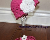 Pink Crochet Beanie with removable Flower Clip and Bootie Set - Newborn to 24 month sizes