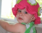 Bright and Sweet Flowers All Around Crochet Sun Hat - Newborn through 4T Sizes available