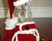 Santa Baby Crochet Pom Pom Beanie, Diaper Cover, and Boots Set - Newborn through 12 Month Sizes Available
